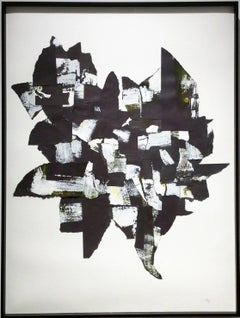 Abstraction III (Black and white abstract paper collage with acrylic)