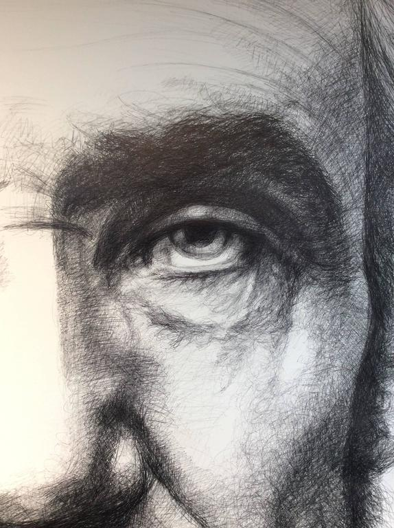 Abraham Lincoln: Large Black & White Ballpoint Pen Drawing of American President - Gray Portrait by Linda Newman Boughton
