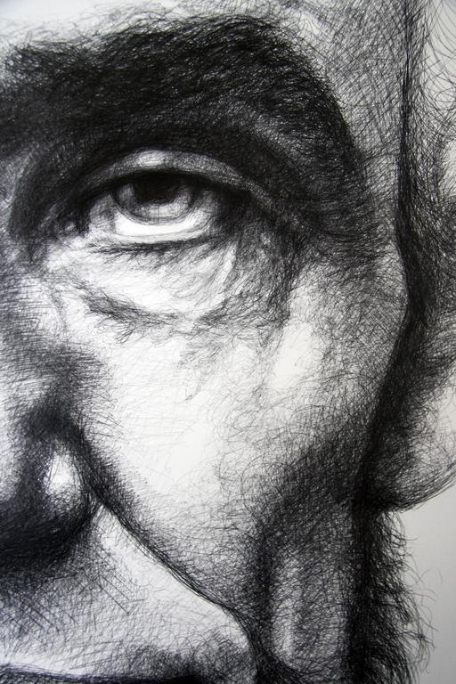 Abraham Lincoln: Large Black & White Ballpoint Pen Drawing of American President - Art by Linda Newman Boughton