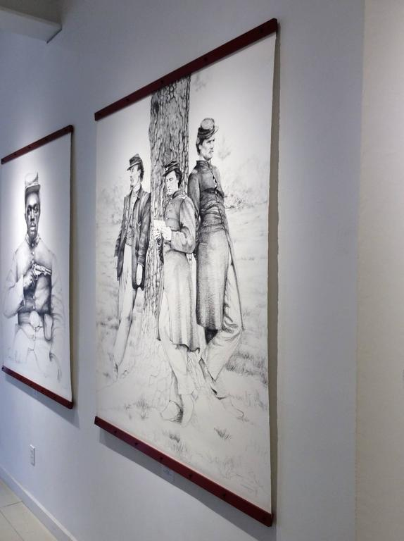 The Letter (Large Black & White Ballpoint Pen Drawing of Civil War Soldiers) - Modern Art by Linda Newman Boughton