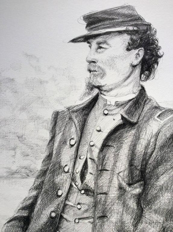 The Letter (Large Black & White Ballpoint Pen Drawing of Civil War Soldiers) For Sale 2