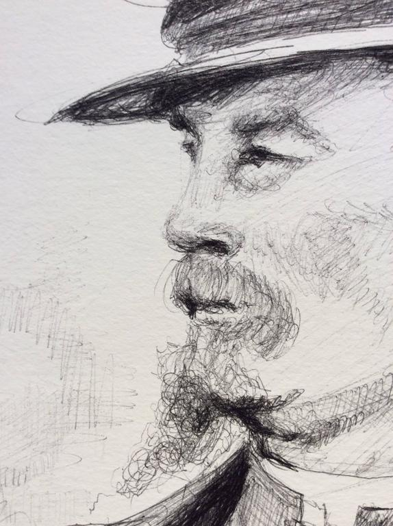 The Letter (Large Black & White Ballpoint Pen Drawing of Civil War Soldiers) For Sale 3