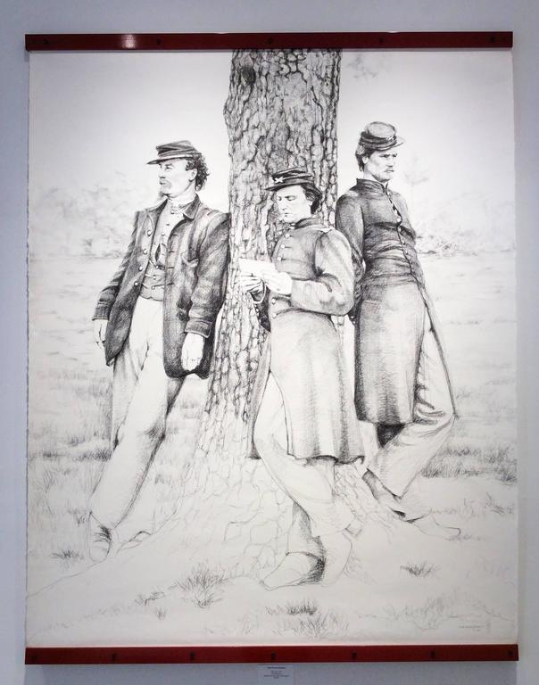 The Letter (Large Black & White Ballpoint Pen Drawing of Civil War Soldiers) - Art by Linda Newman Boughton