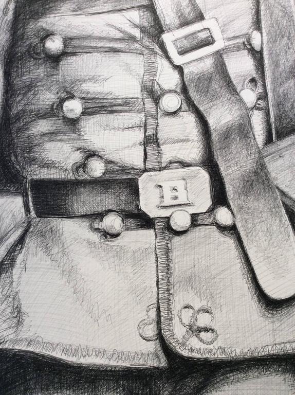 Drummer (Large Black & White Ballpoint Pen Drawing Civil War Soldier Portrait) For Sale 1