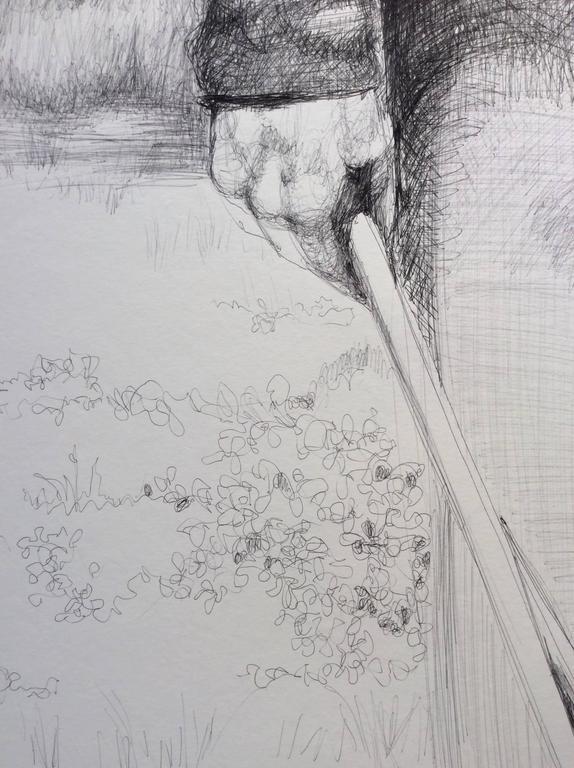 Drummer (Large Black & White Ballpoint Pen Drawing Civil War Soldier Portrait) For Sale 3