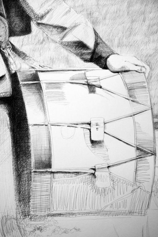 Drummer (Large Black & White Ballpoint Pen Drawing Civil War Soldier Portrait) For Sale 2