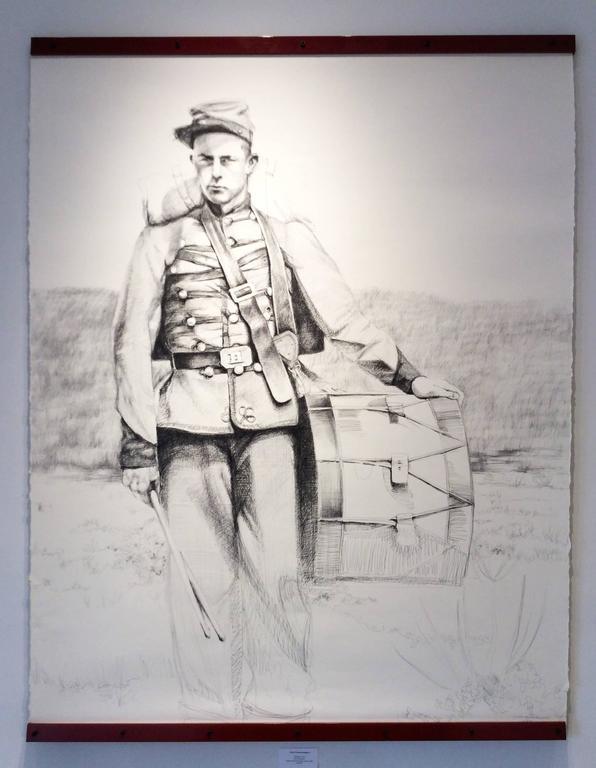 Drummer (Large Black & White Ballpoint Pen Drawing Civil War Soldier Portrait) - Art by Linda Newman Boughton