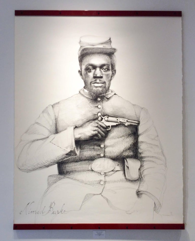 Nimrod Burke (Large Black & White Ballpoint Pen Civil War Soldier Portrait) - Art by Linda Newman Boughton