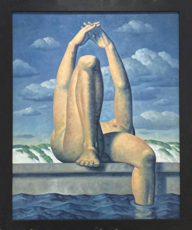 Kent, Leg Up 1 (Modern Oil Painting of Relaxing Male Nude in Blue Landscape )