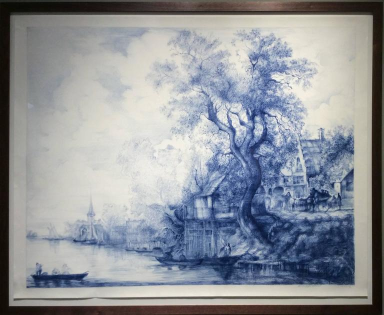 Jan Van Goyen (Baroque Ballpoint pen landscape drawing on paper in Blue ink) - Art by Linda Newman Boughton