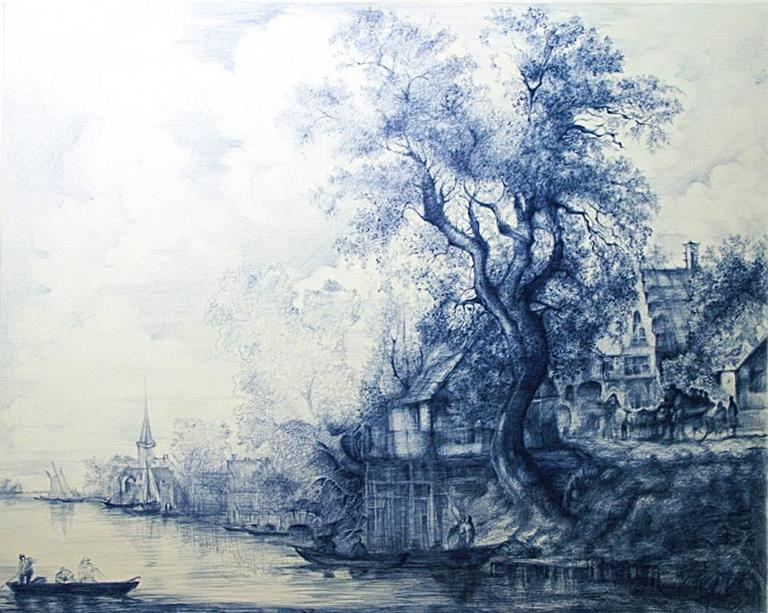 Linda Newman Boughton Landscape Art - Jan Van Goyen (Baroque Ballpoint pen landscape drawing on paper in Blue ink)