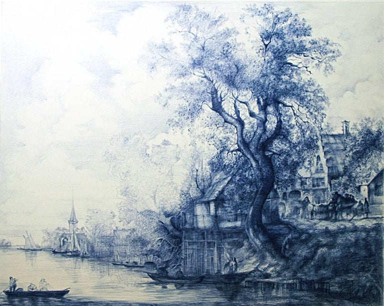 Linda Newman Boughton Landscape Art - Jan Van Goyen (Baroque Ballpoint pen landscape drawing on paper in Blue ink)