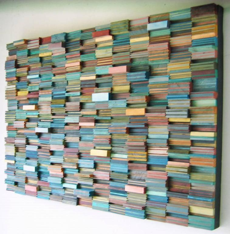 Konfety Colorful Abstract 3d Wooden Wall Sculpture