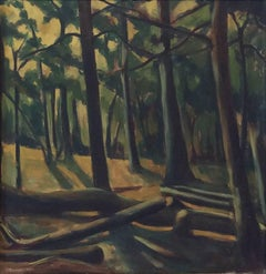 Deep Woods (Expressionist Landscape Oil Painting of Earth Toned Forest)