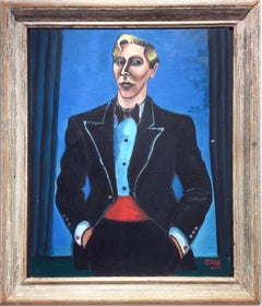 Man In Tuxedo (WPA Style Portrait with Blue Background and Antique Frame)