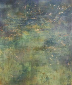 Grande Reinvention (Large Green Abstract Landscape with Gold Metallic Powder)