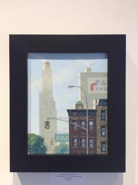 Ashland Fog 2, Study (Small Vertical Cityscape Oil Painting of Brooklyn, NY) - Blue Landscape Painting by Robert Goldstrom