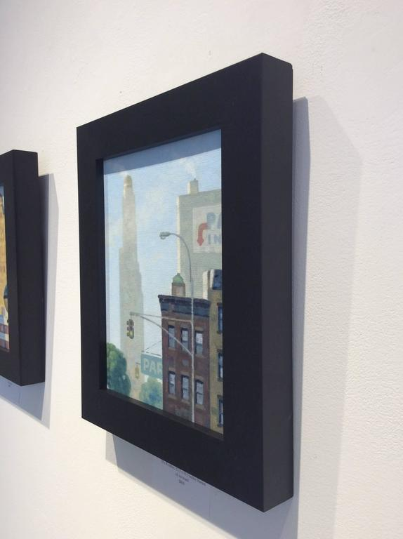 Oil on canvas board 10 x 8 inches unframed, 12.5 x 10.5 inches framed   This charmingly intimate view of a familiar Brooklyn intersection was painted with oil on canvas board in a black frame by Robert Goldstrom in 2016. This landscape was made as a