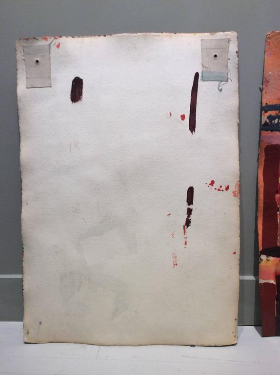 Untitled 302 (Vertical Mid-Century Modern Abstract Painting in Red & Orange) 3
