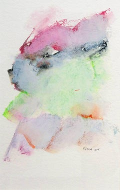 Mountain Study I (Contemporary Abstract Landscape on Paper in Bright Pastels)