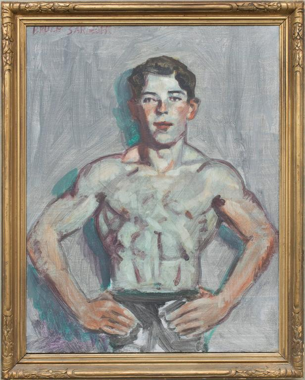 Figurative oil on canvas painting of a young athletic male  24 x 20 inches, 29.5 x 23.5 inches vintage gold painted wood frame signed B. Sargeant in red in upper right hand corner  This academic style portrait of a single male athlete, presumably a