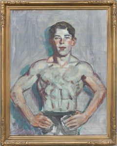 Young Swimmer (Modern, Academic Style Portrait Painting in Antique Gold Frame)
