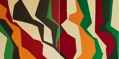 Untitled Diptych I (Abstract Mid Century Modern Style Abstract Painting)