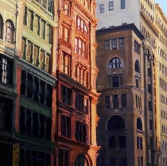 Grand Dames of Broadway (Modern Oil Painting of Close-up on City Buildings