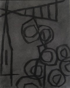 Untitled 24 (Modern Black Charcoal & Gray Abstract Still Life Drawing on Paper)