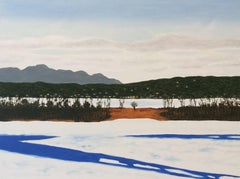 Athens from Hudson in Winter (Winter Landscape Oil Painting on Canvas)