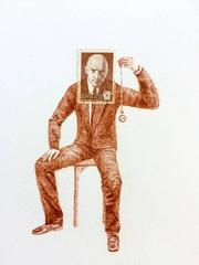 USSR, The Hypnotist: Detailed Colored Pencil Figurative Drawing & Unique Stamp