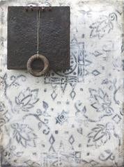 Pull (Mixed Media Wall Sculpture with Blue and White Mosaic Pattern & Encaustic)