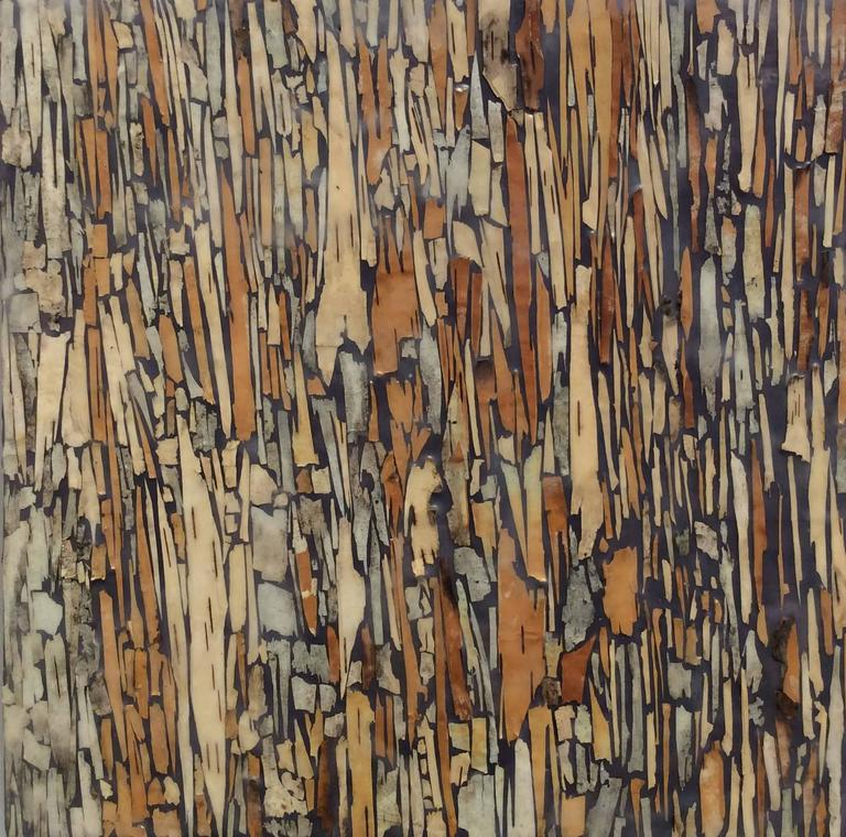 Allyson Levy Birch 2 Graphic Encaustic Painting with Brown Birch