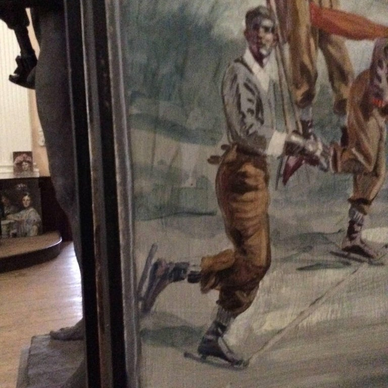 Study for Athletes, Winter (Large Mural of Male Athletes in a Winter Landscape) For Sale 2