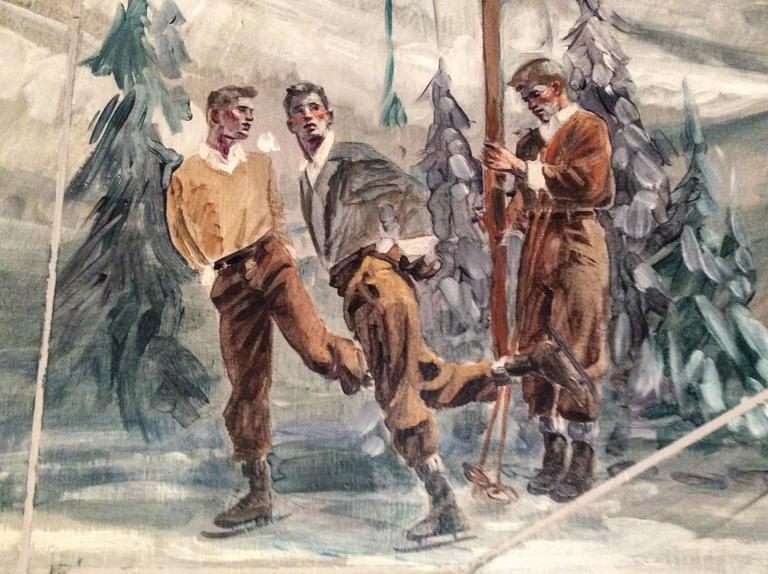Study for Athletes, Winter (Large Mural of Male Athletes in a Winter Landscape) - Academic Painting by Mark Beard
