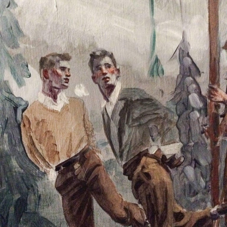 Study for Athletes, Winter (Large Mural of Male Athletes in a Winter Landscape) For Sale 3