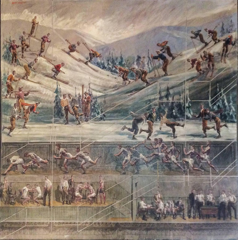 Study for Athletes, Winter (Large Mural of Male Athletes in a Winter Landscape)