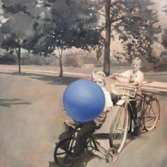 Blue (Black & White Figurative Oil Painting of Boys on Bikes with Blue Ball)