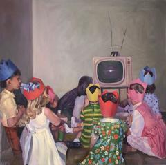 TV Nation (Modern Oil Painting of Child's 1960s Party from Vintage Photo)