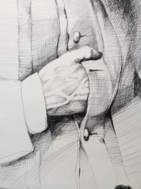 William Mahone (Large Black & White Ballpoint Pen Drawing of Civil War General) - Gray Figurative Art by Linda Newman Boughton