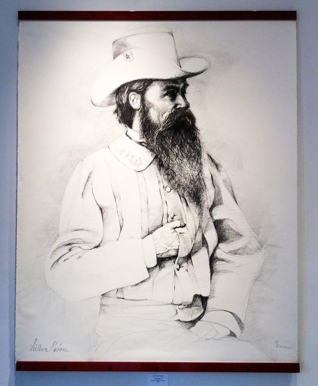 William Mahone (Large Black & White Ballpoint Pen Drawing of Civil War General) - Art by Linda Newman Boughton