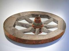 Wooden Wagon Wheel: Mixed Media Rustic Wooden Wheel 3-D Wall Sculpture