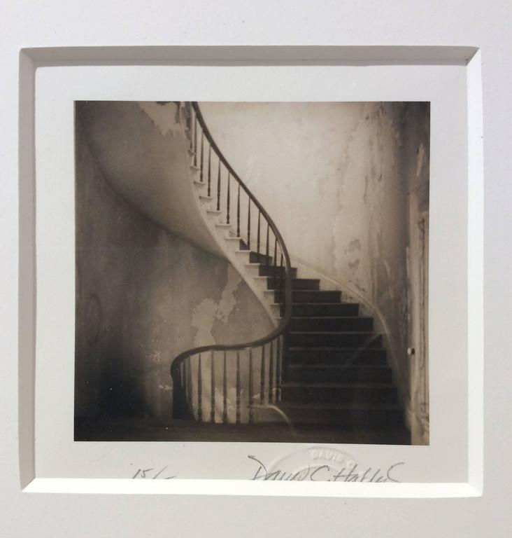 Staircase (Square, Sepia Toned Vintage Photograph of a Spiral Staircase) For Sale 1