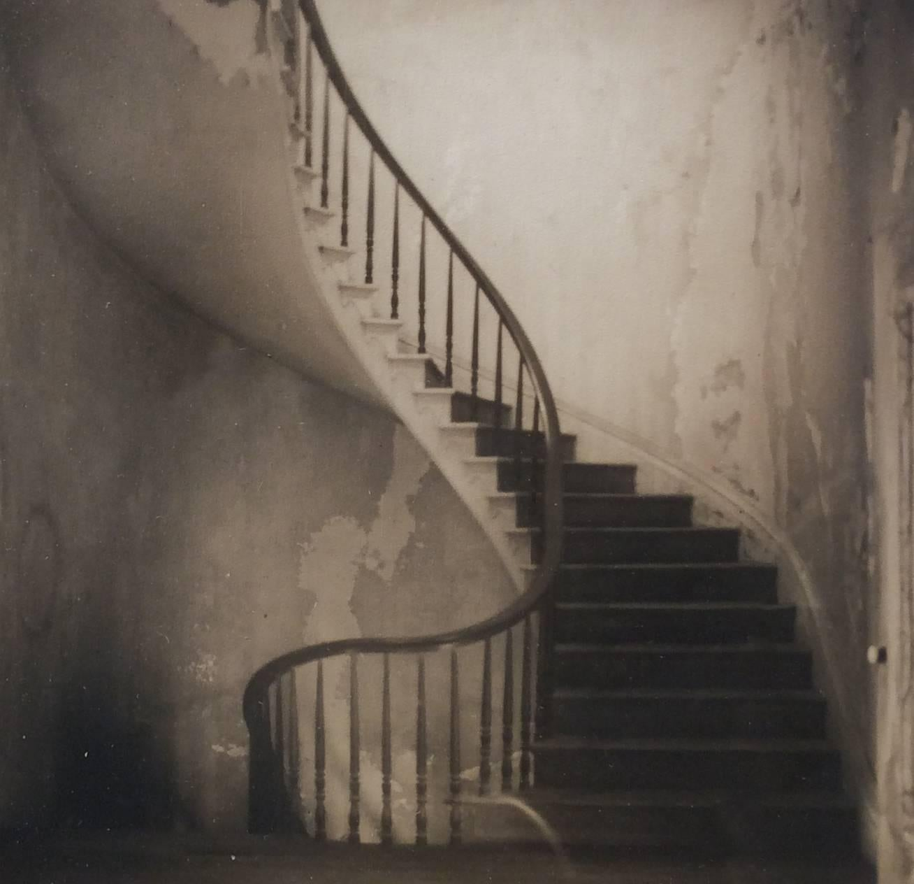 Staircase (Square, Sepia Toned Vintage Photograph of a Spiral Staircase)