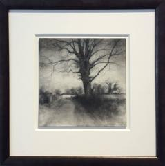 Bog Road Tree (Realist Black & White Charcoal Drawing of Tree and Country Road)