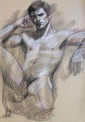 MB 814 B (Contemporary Reclining Male Nude Figurative Drawing on Paper)