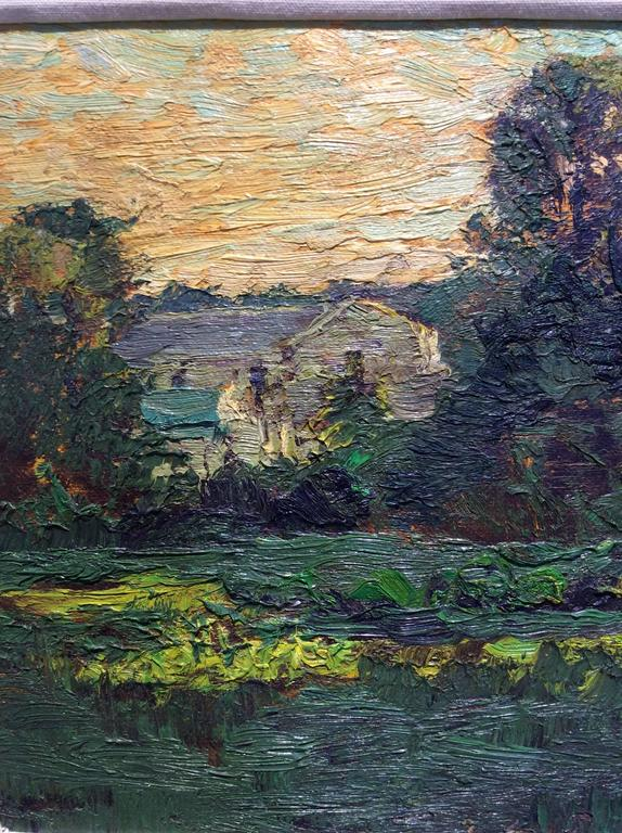 #5177 A House in Salem (Impressionist Landscape Painting of Farm House & Sunset) For Sale 3