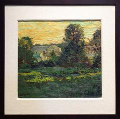 #5177 A House in Salem (Impressionist Green Country Landscape of House & Sunset)
