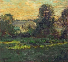 #5177 A House in Salem (Impressionist Landscape Painting of Farm House & Sunset)