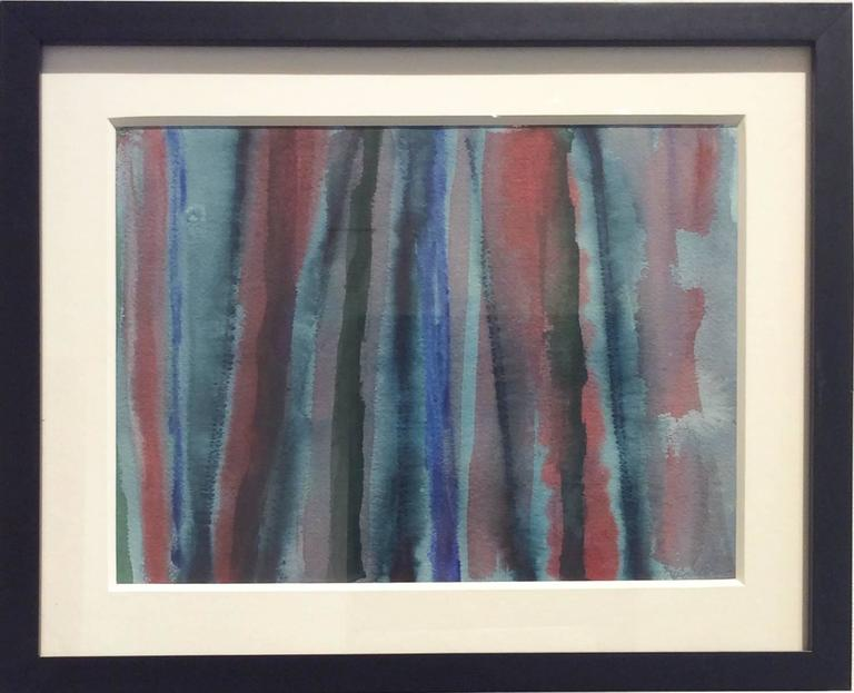 Untitled 239 (1970s Cool Blue Stripe Abstract Watercolor Painting) - Art by Edward Avedisian